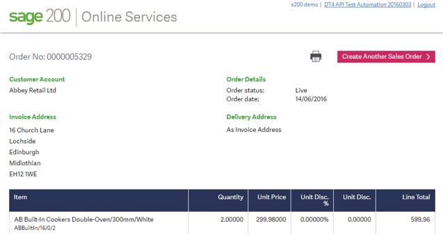 Sage 200 web sales order entry screen shot